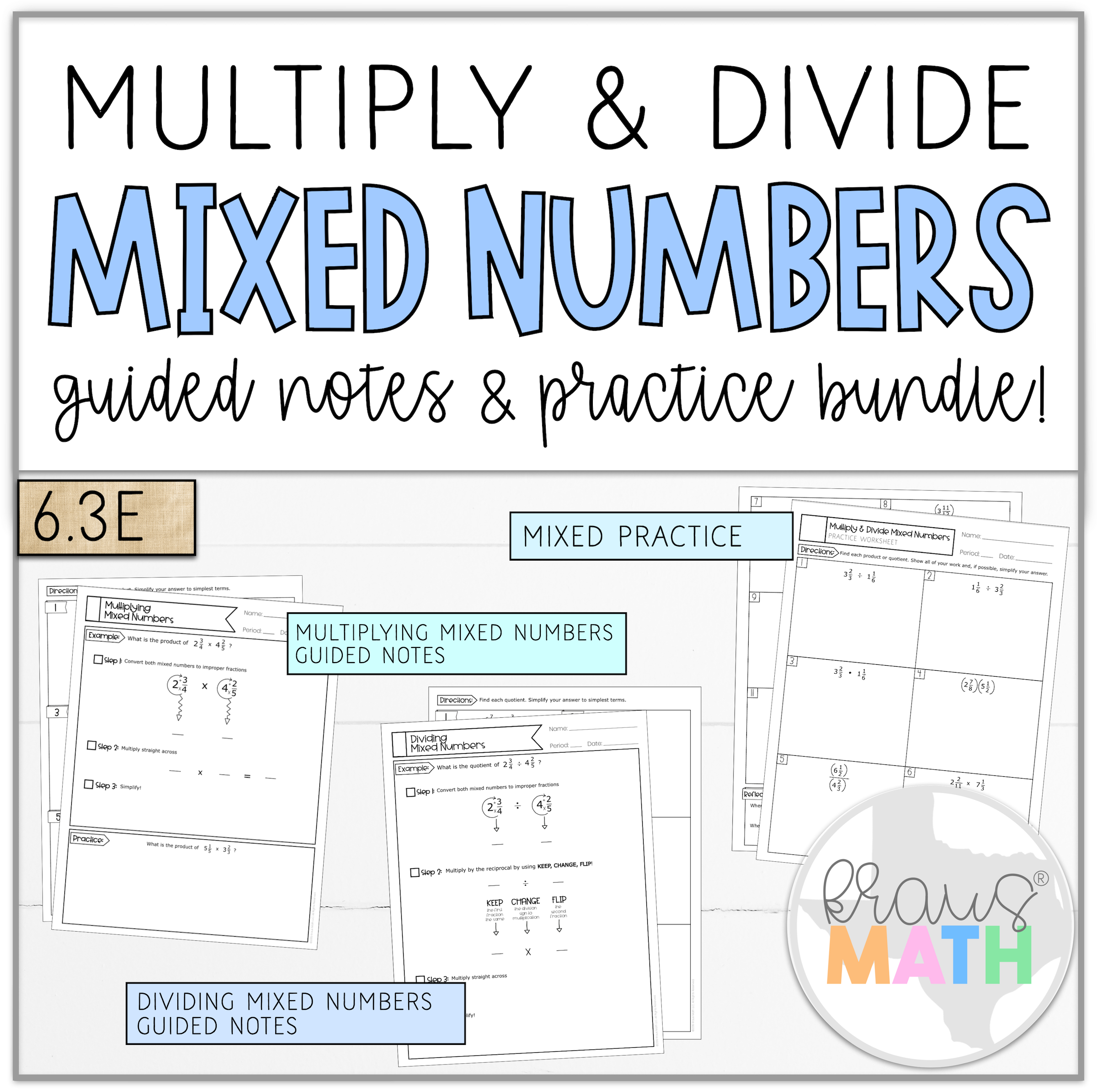 Multiply Amp Divide Mixed Numbers Notes Amp Worksheet 6 3e