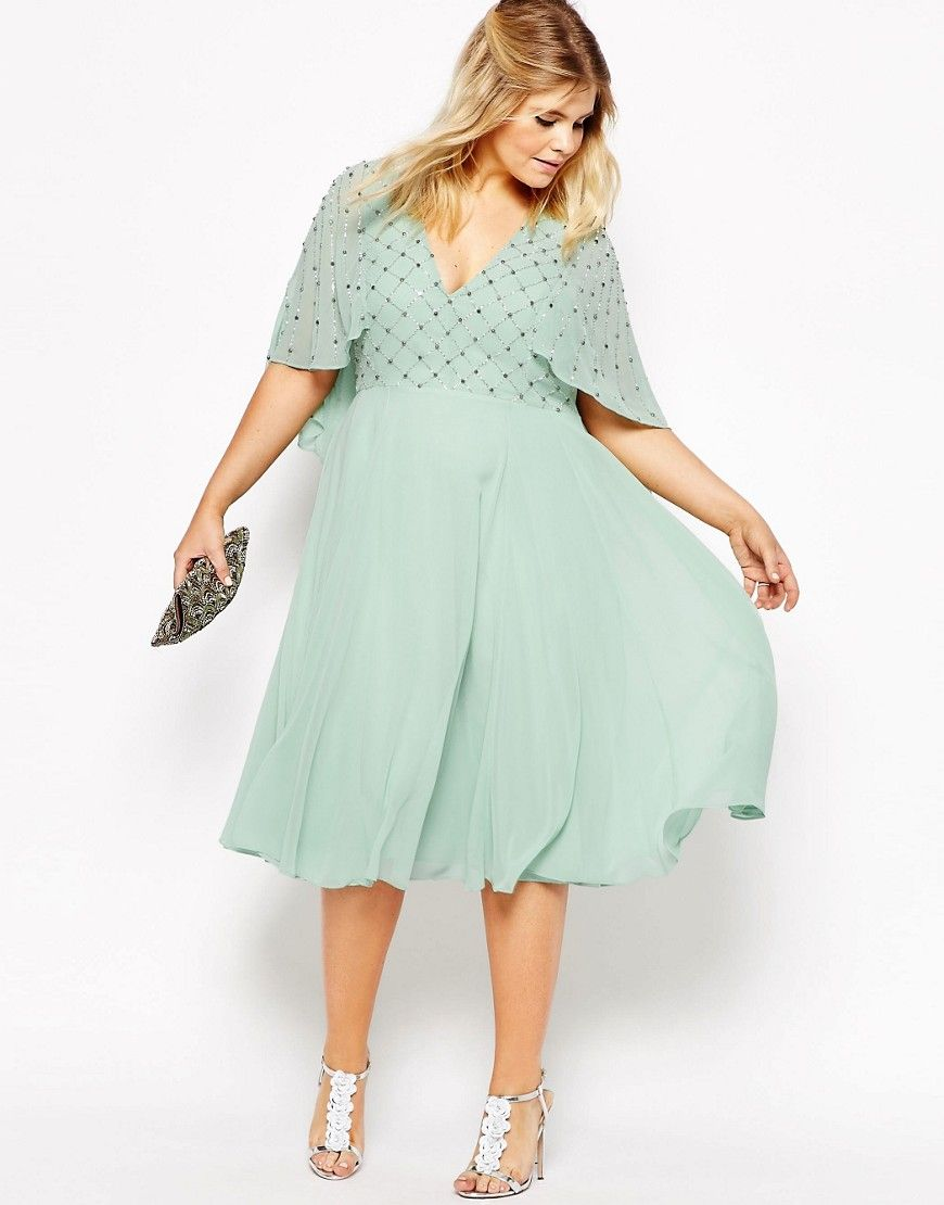 CURVE Waterfall Dress with Embellished Top | Asos curve and Curves
