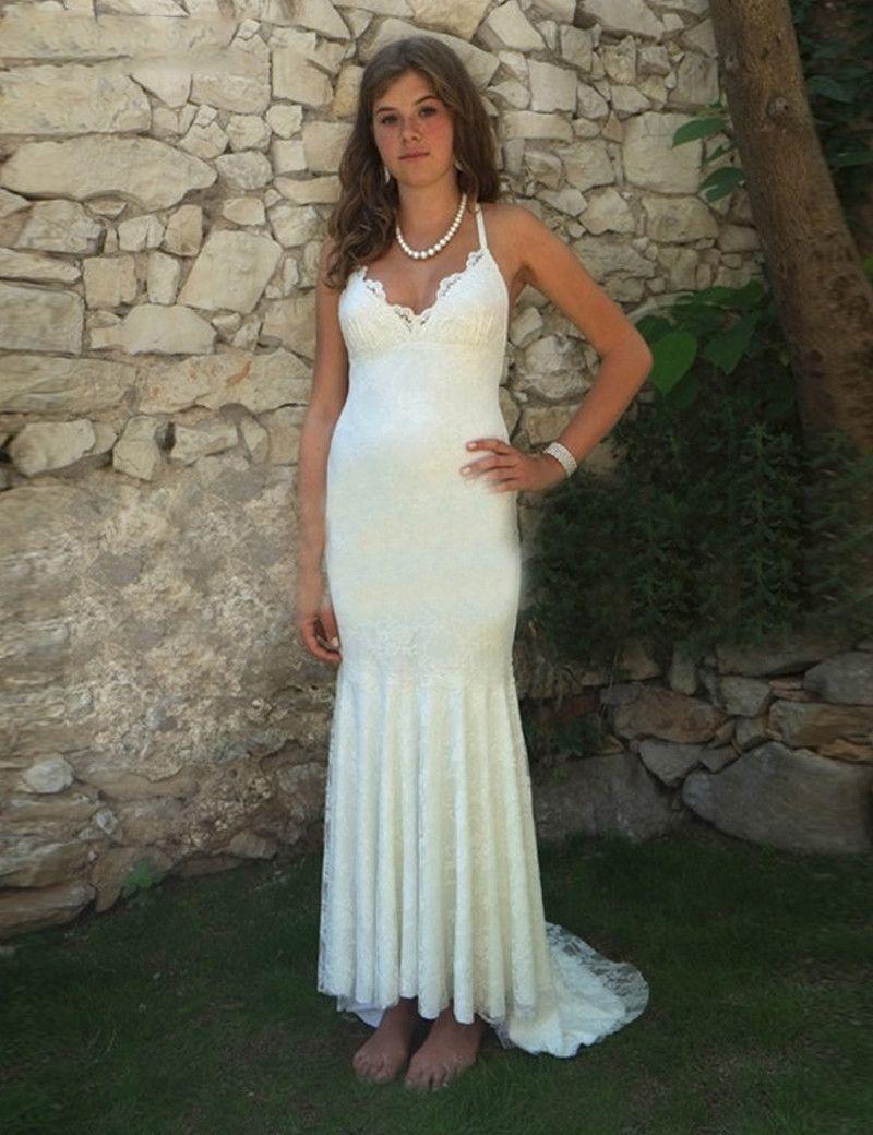 Click to buy ucuc new cheap boho wedding dresses v neck backless