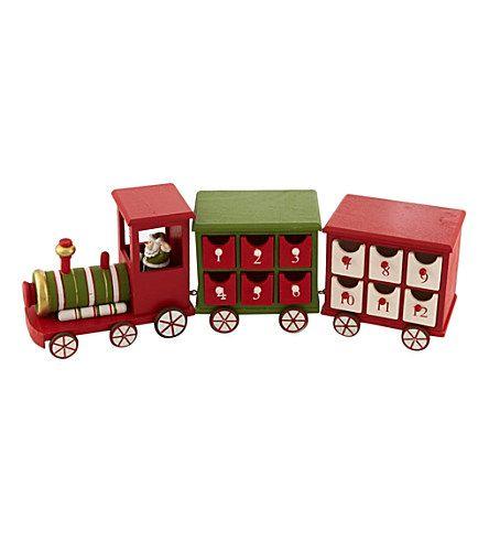 Gisela Graham Wooden Advent Calendar Train Christmas Decorations