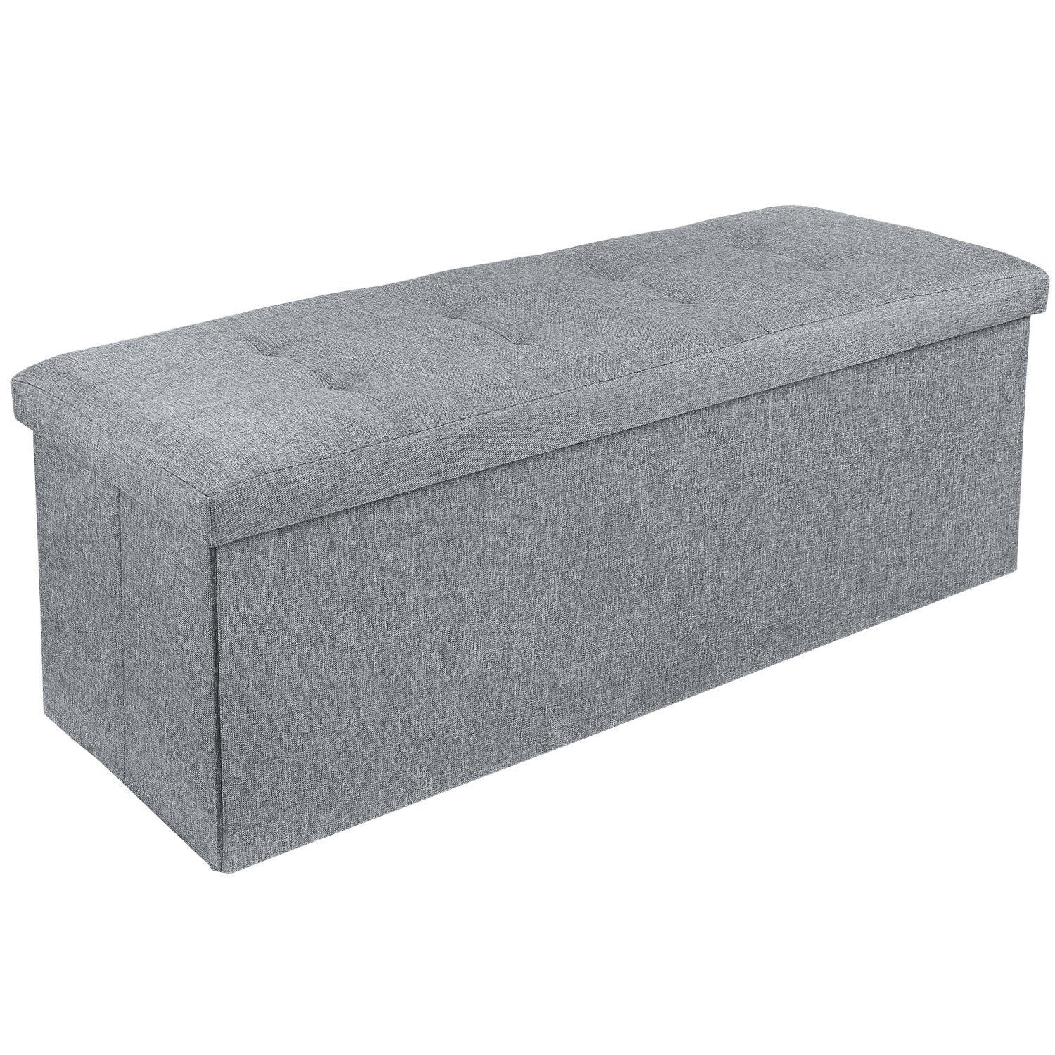 Outstanding Homfa Folding Storage Ottoman Bench Linen Fabric Pouffe Forskolin Free Trial Chair Design Images Forskolin Free Trialorg