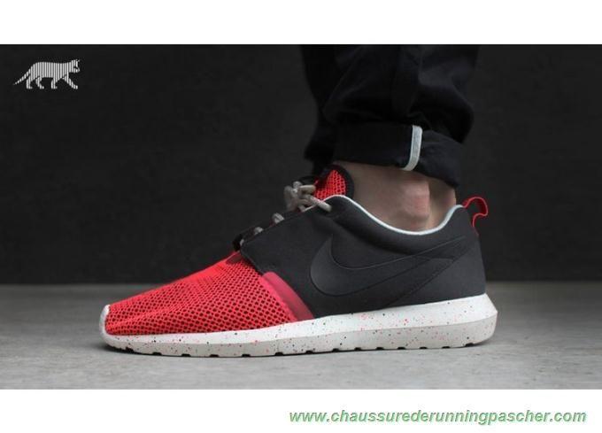 meilleure chaussure de running 644425-001 Noir/Rouge/Sail Nike Roshe Run NM BR 3M Hommes