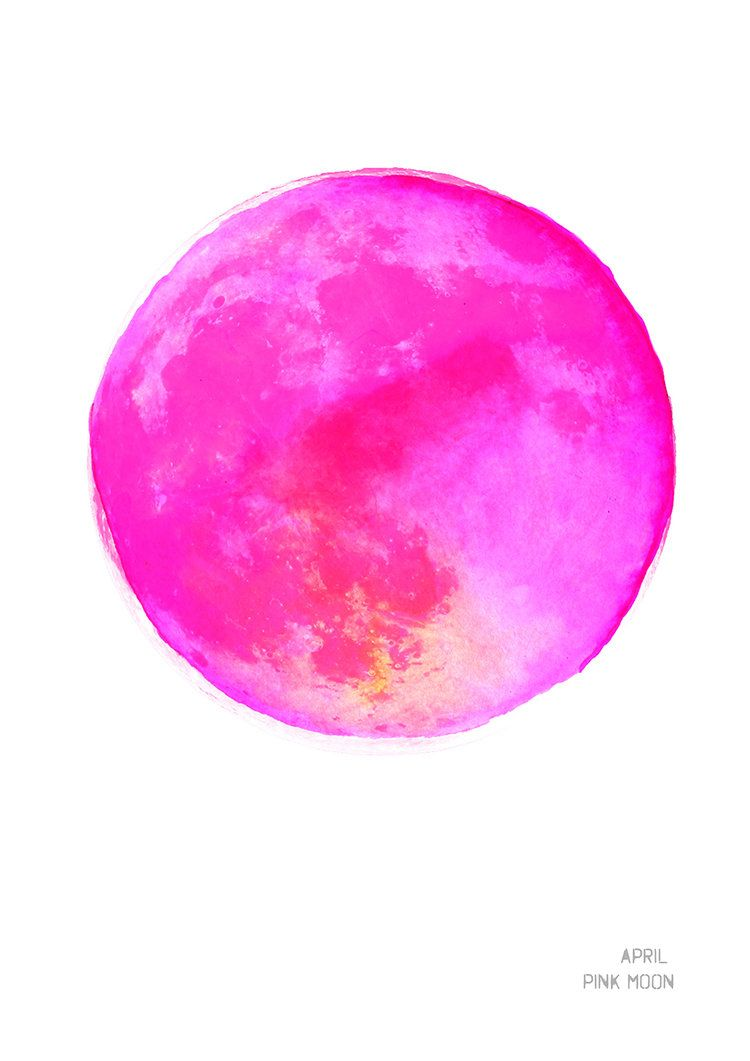 April Pink Moon Art Print Pink Moon Moon Art Watercolor Moon