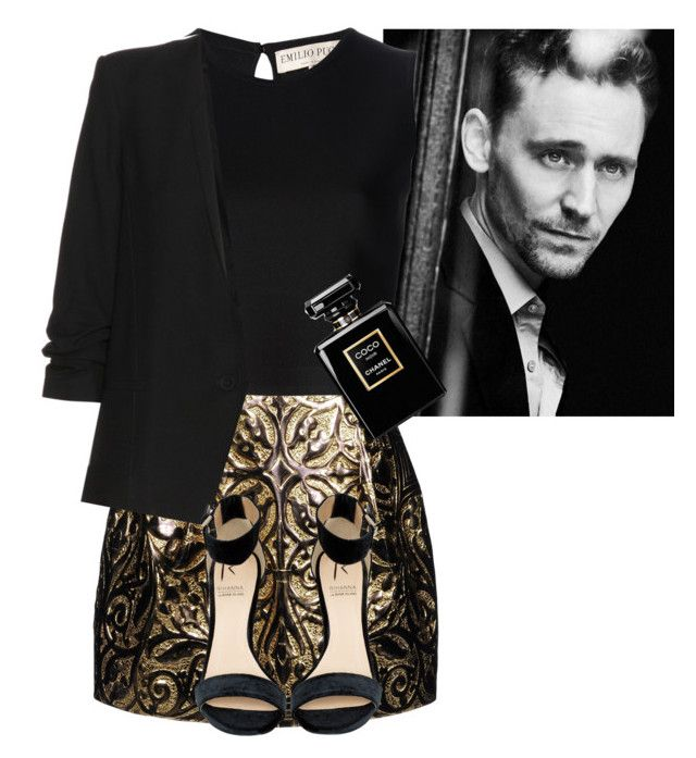 """Party with Tom Hiddleston"" by gloubidu62 ❤ liked on Polyvore featuring Dolce&Gabbana, Emilio Pucci, Chanel, Helmut Lang and Rihanna For River Island"