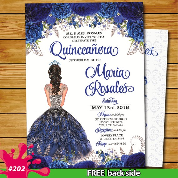 royal blue roses quinceanera invitation