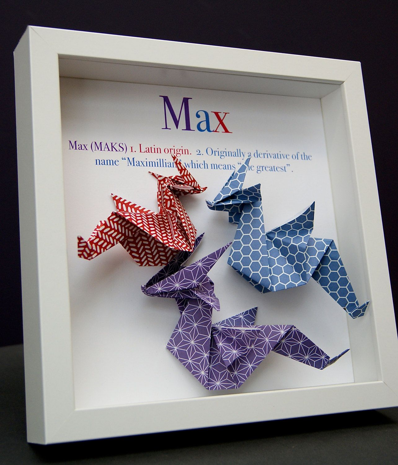 Personalized name origin and meaning paper origami dragon shadowbox personalized name paper origami dragon shadowbox custom newborn baby shower gift by paintandpapercraft on etsy negle Choice Image