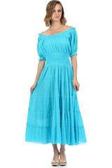 Sakkas Cotton Crepe Smocked Peasant Gypsy Boho Renaissance Mid Length Dress