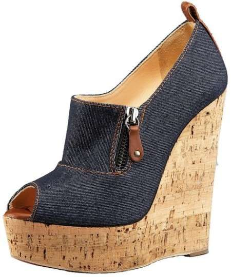 Christian Louboutin Resort 2011 open-toe Cork and Denim Wedge #CL #Shoes #Wedges