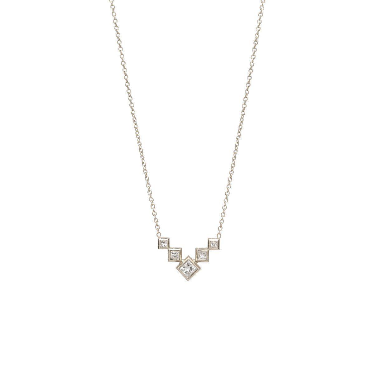 K princess diamond bezel set v necklace princess diamond and