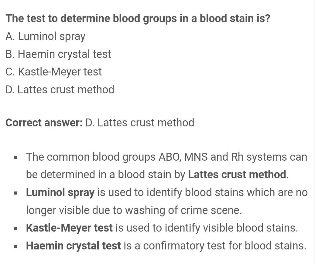 Latte crust method for Blood group in Blood stain     Also
