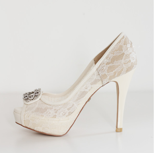 1724d505476 High Heels Fish Toe Ivory Lace Sexy Wedding Bridal Shoes With Tow ...