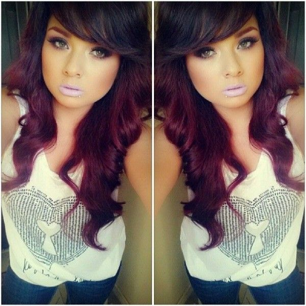 Dark brown and violet red hair color - Your own fashion | Hairstyles ...