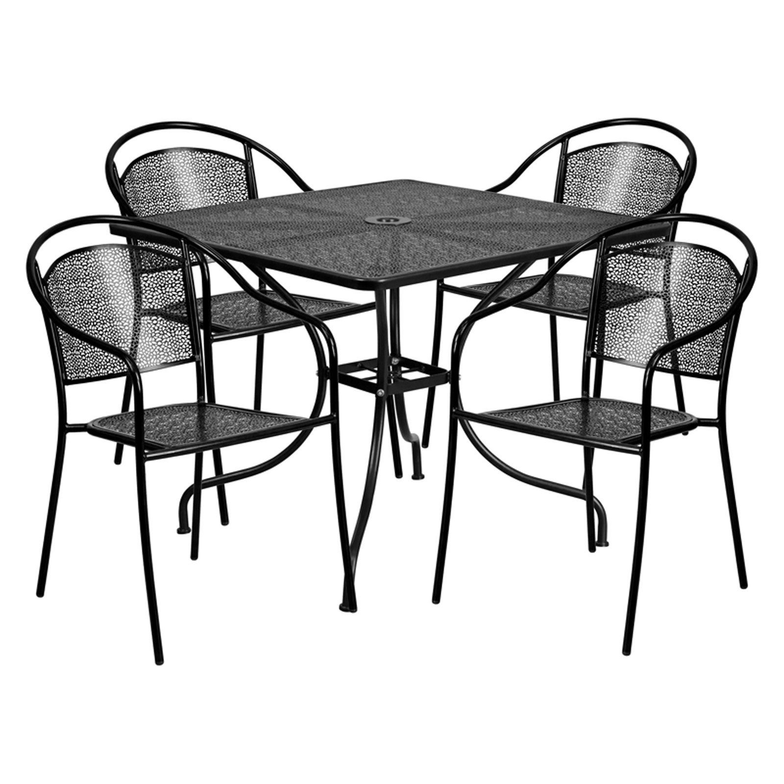 Outdoor Flash Furniture Steel Square Patio Dining Set With 4 Round
