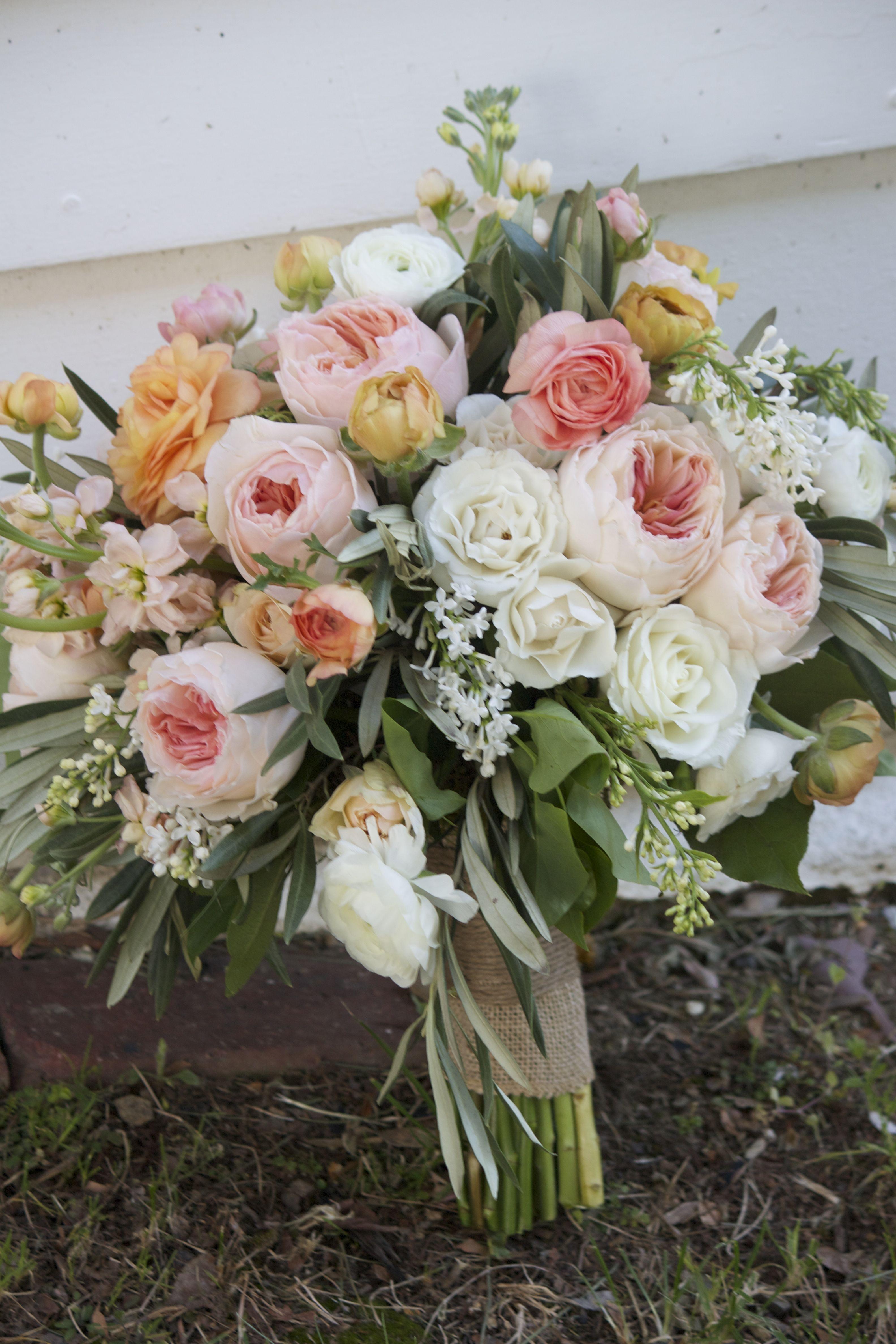 garden rustic bouquet of peach garden roses, white and orange