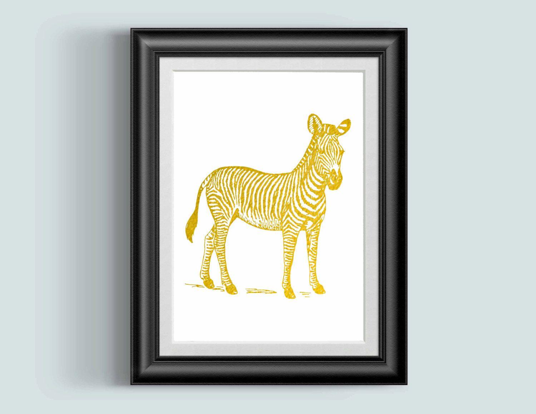 Nursery Wall Art Zebra Print, safari nursery art, Gold prints ...