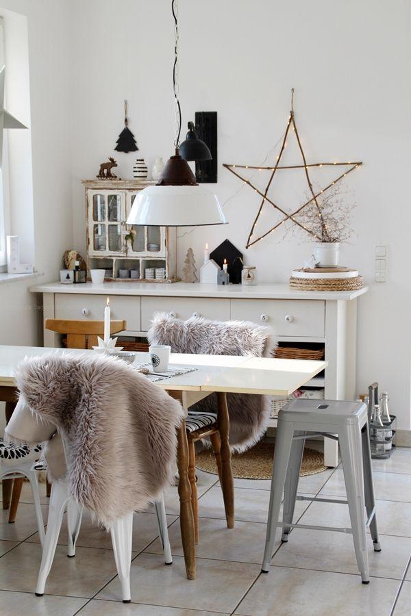 Weihnachts-Deko-Ideen für Küche und Wohnzimmer Scandi-Bohostyle - esszimmer im wohnzimmer