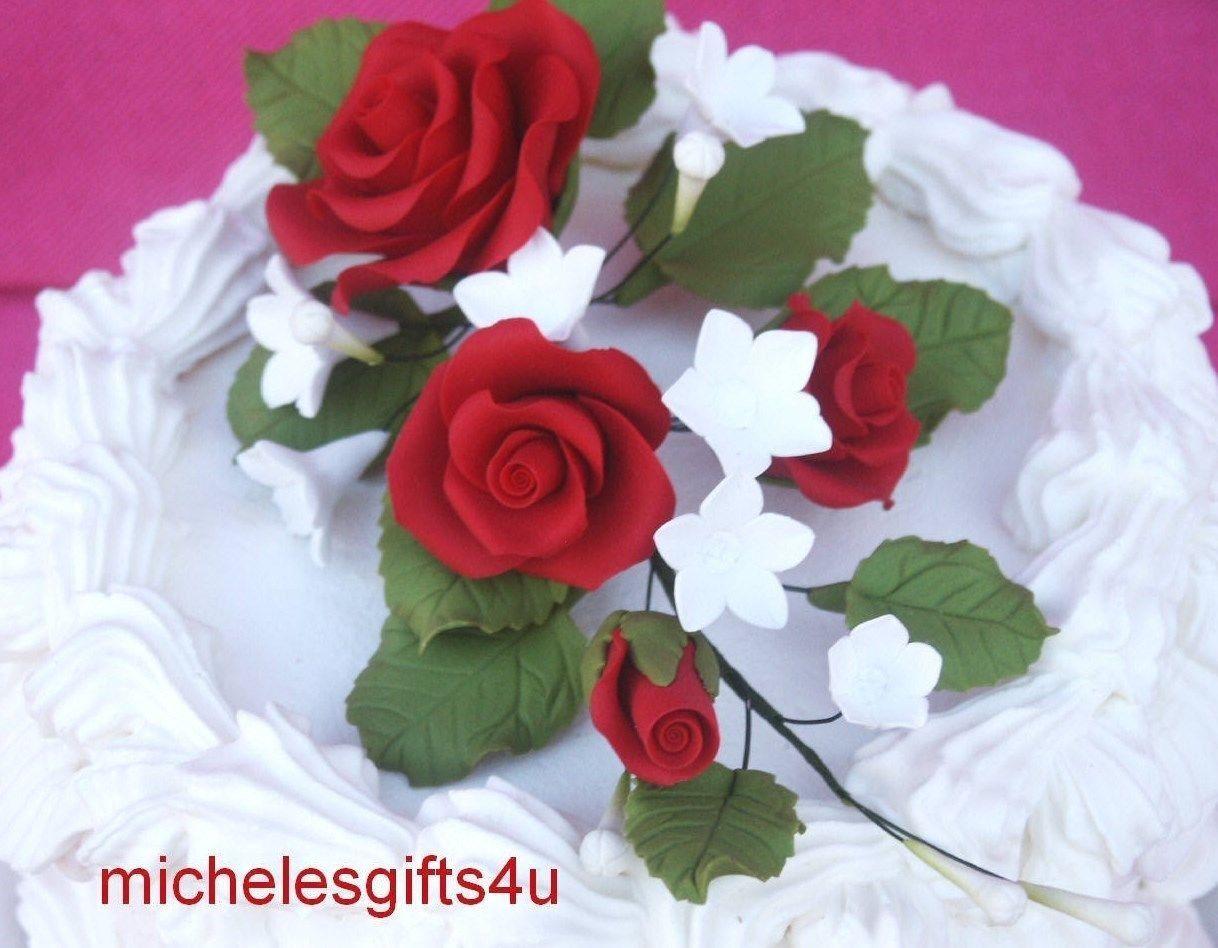 Gum Paste Sugar Dark Red Roses Rosebud Leaves White Flowers Cake