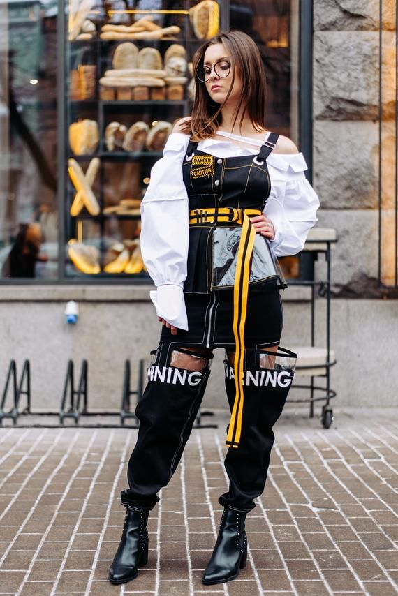 Black clear peplum top, gothic steampunk futuristic cotton shirt, high waisted punk vest, body harne