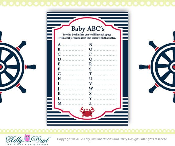 photo about Free Printable Nautical Baby Shower Games referred to as ABCs Match Nautical Boy or girl Shower Match through adlyowlinvitations