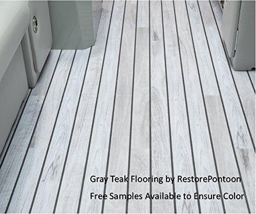 restore pontoon gray teak luxury 80 mil marine vinyl flooring (25