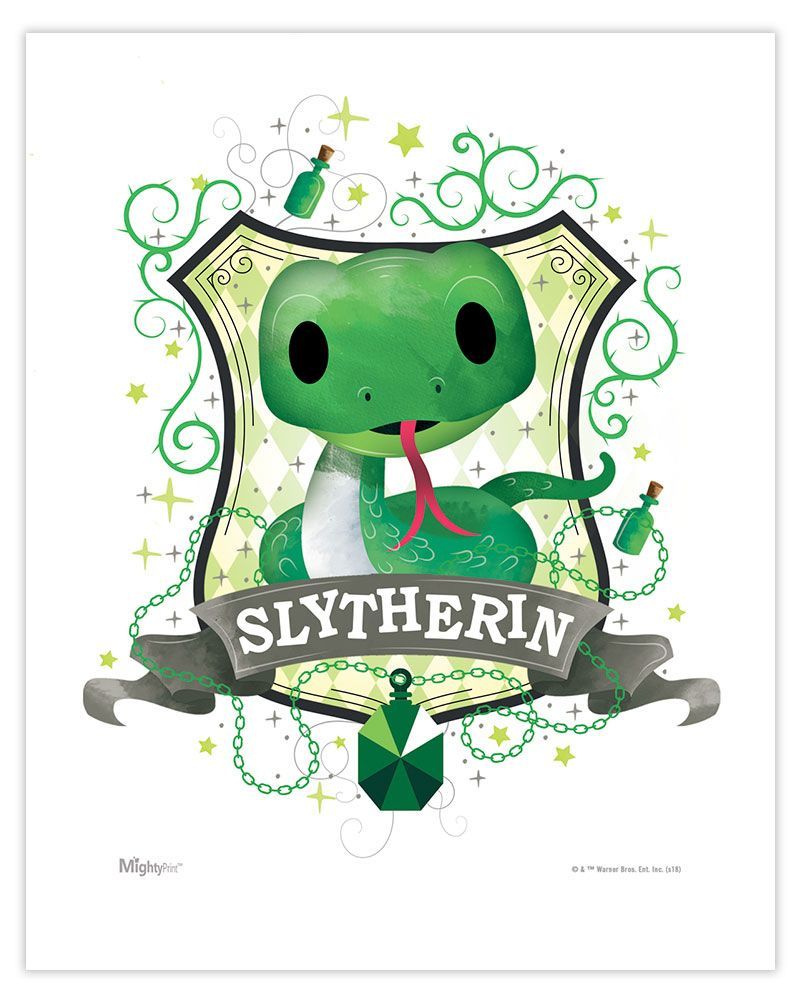 Harry Potter Slytherin Watercolor Mightyprint Wall Art Mp08100451 Harry Potter Wappen Harry Potter Häuser Harry Potter Film