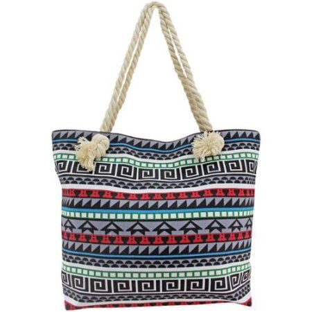 Luxury Divas Blue Multicolor Greek Key Pattern Oversize Beach Tote ...