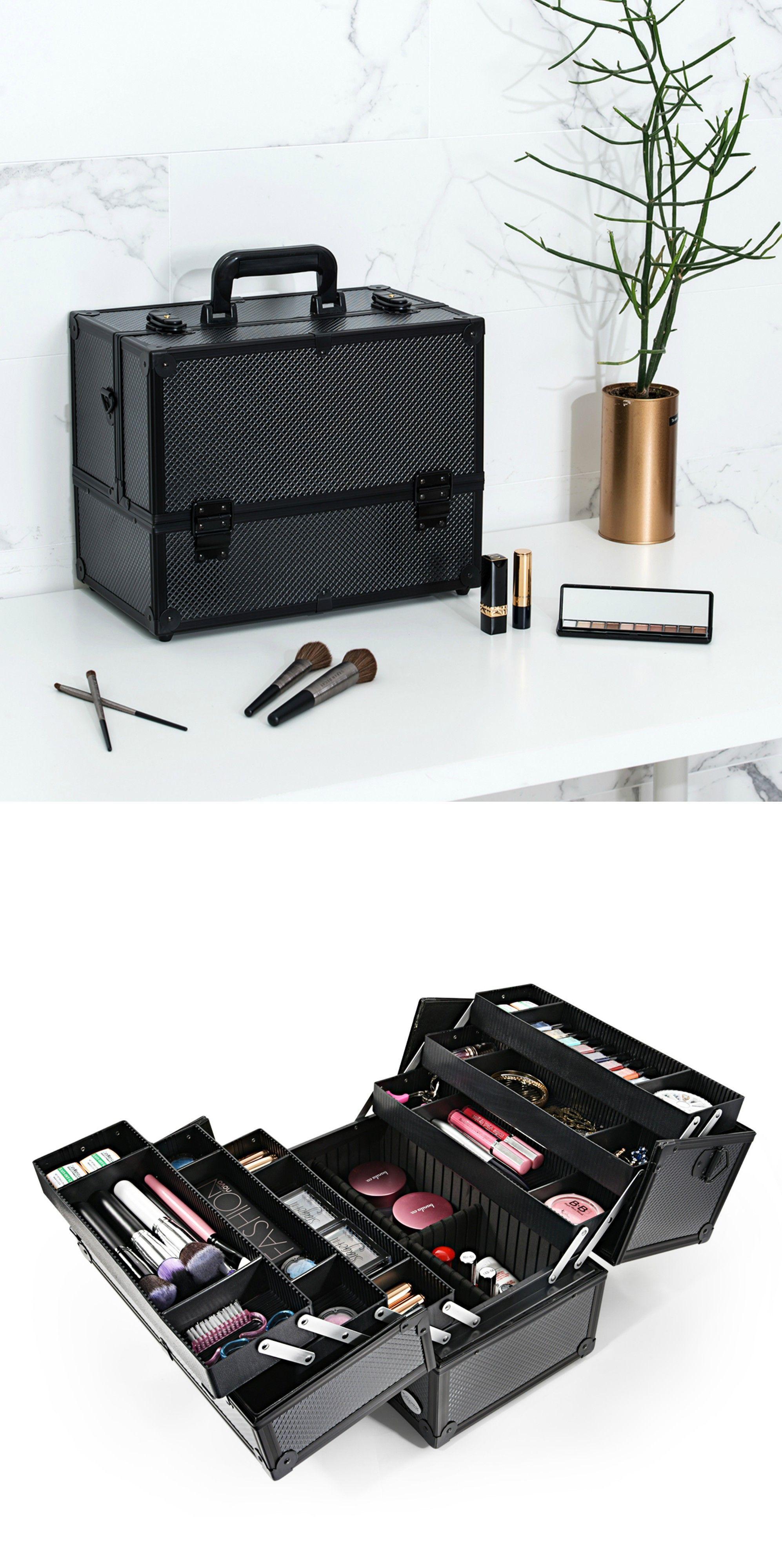Black Diamond Professional Makeup Train Case with Four Tire Dividing Tray--Joligarce Artis makeup case / Makeup vanity with storage / Best makeup case Big ...