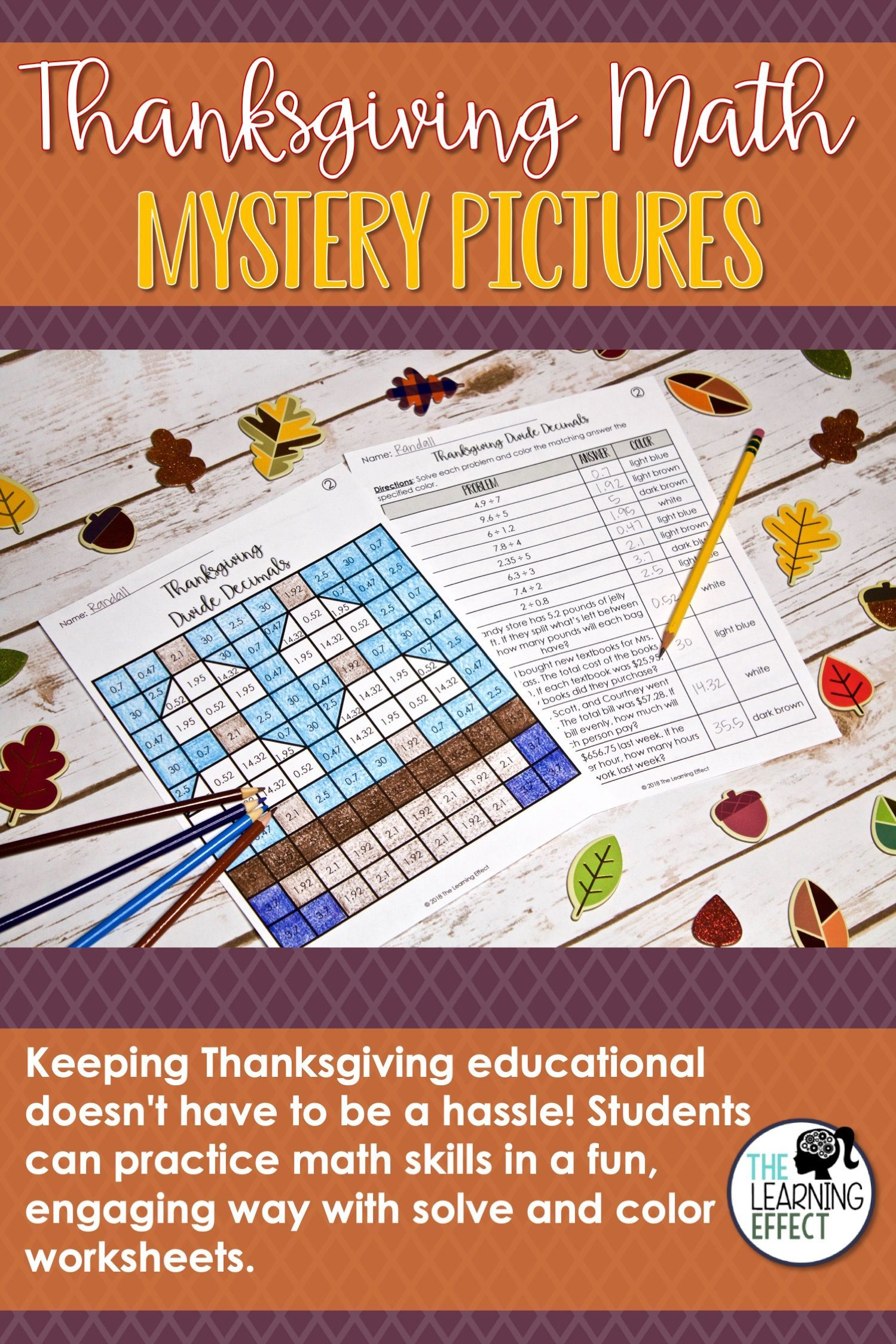 Thanksgiving Math Mystery Pictures Decimals