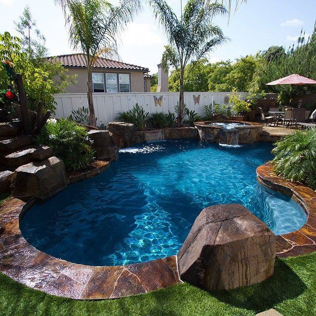 Love This Pool Color! Love The Big Rock For Jumping