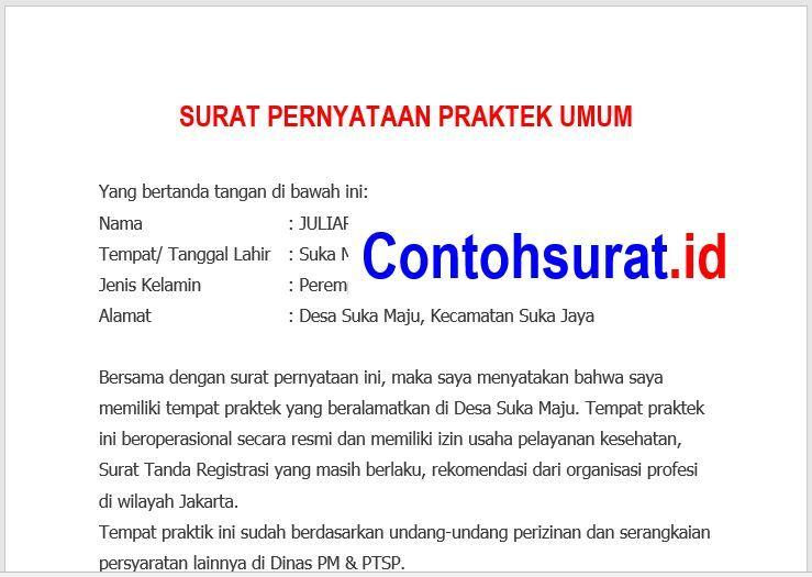 Contoh Surat Pernyataan Praktek Umum Dokter Surat Dokter Tanggal