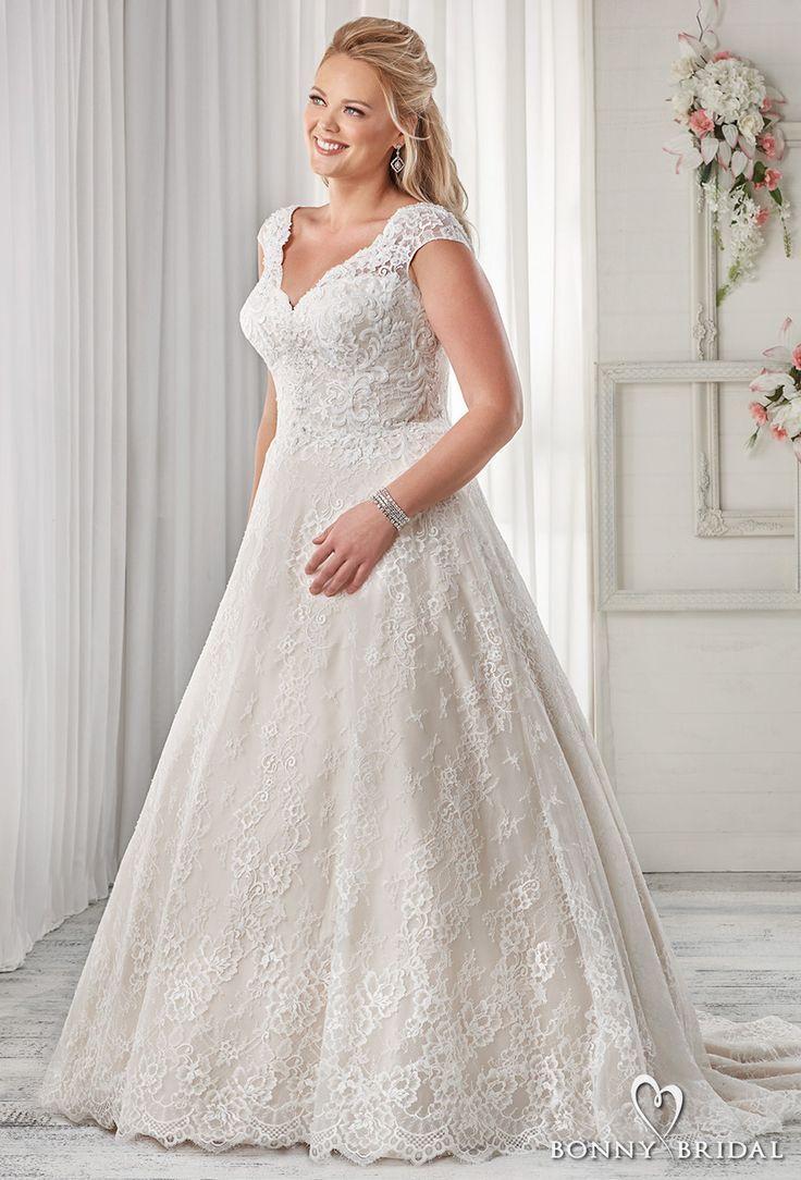 Bonny bridal cap sleeves v neck full embellishment pretty plus