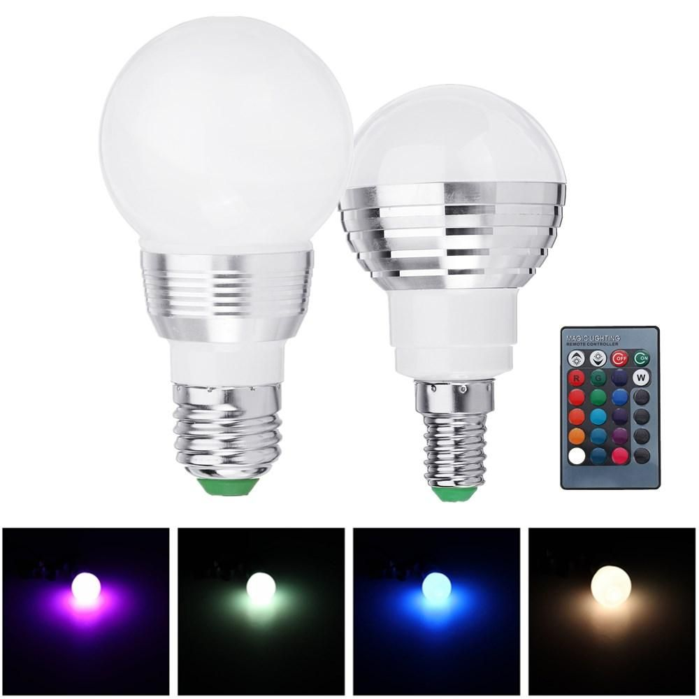 Us 6 89 Ac85 265 3w E27 E14 Dimmable Rgb Led Light Bulb 24 Key