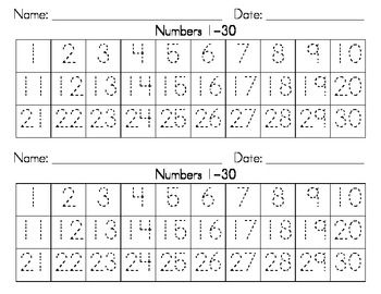 Dotted Numbers 130 Writing Strips Writing numbers