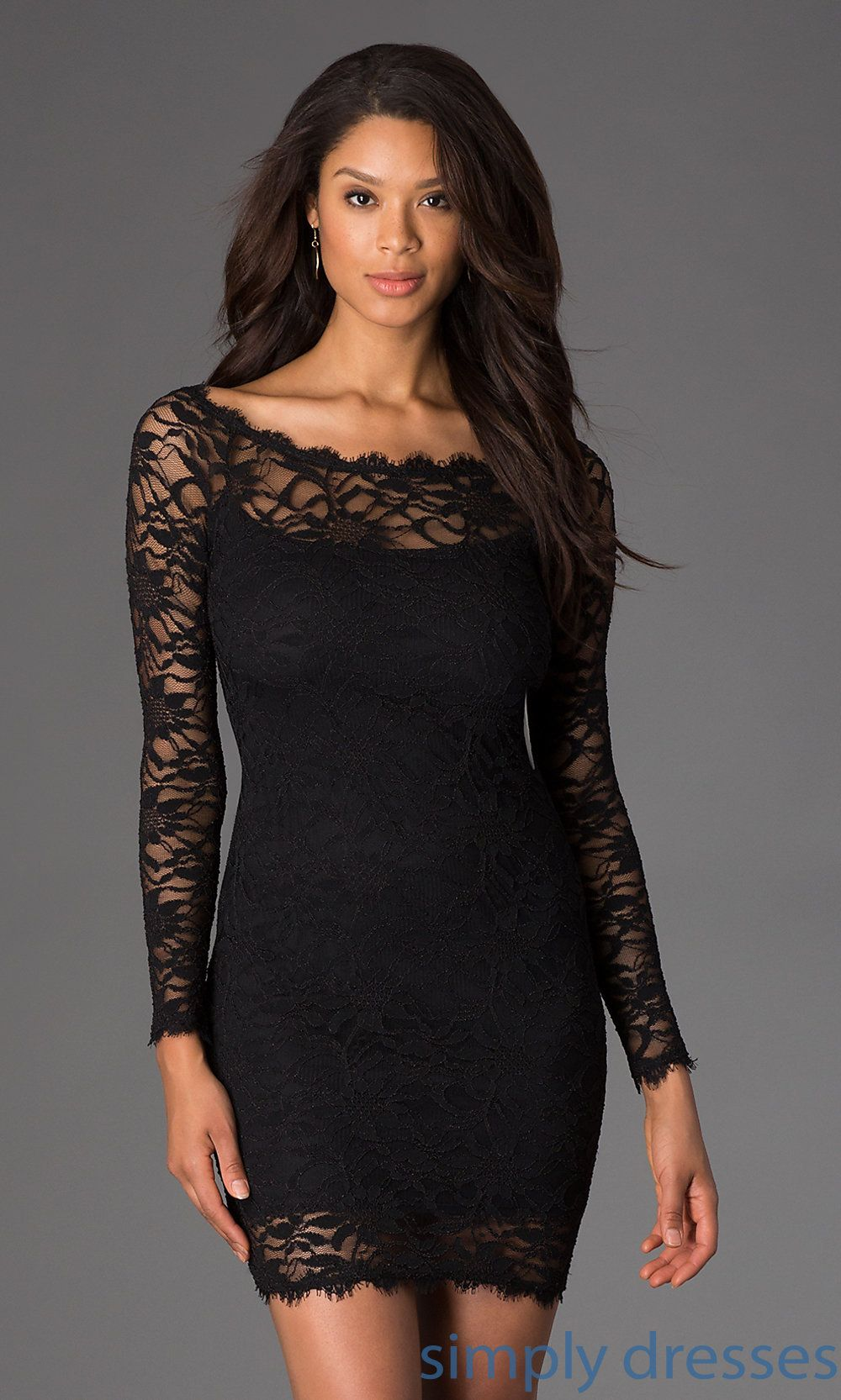 Jump Black Lace Long Sleeve Cocktail Dress | Black laces, Semi ...