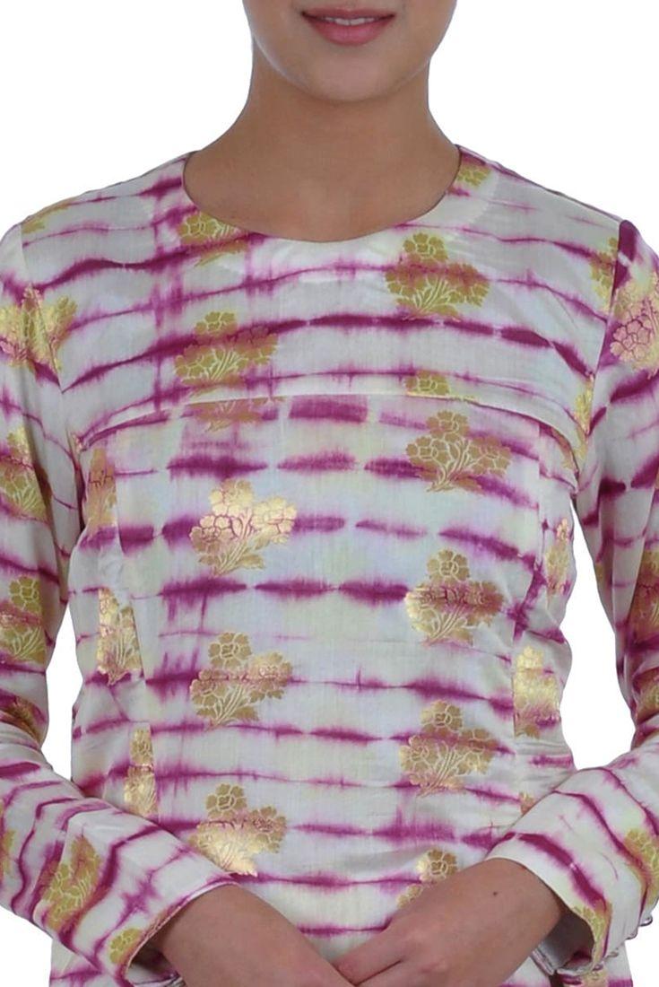 Cream-Purple Tie-Dye Banarasi Gold Zari Weave Pure Silk Suit