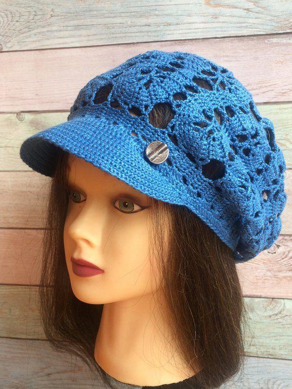 7a26f1b112a70 Crochet Cotton Brim Cap Beret visor Summer Slouchy Textured Mesh Brugge  lace style Newsboy Knit Cap