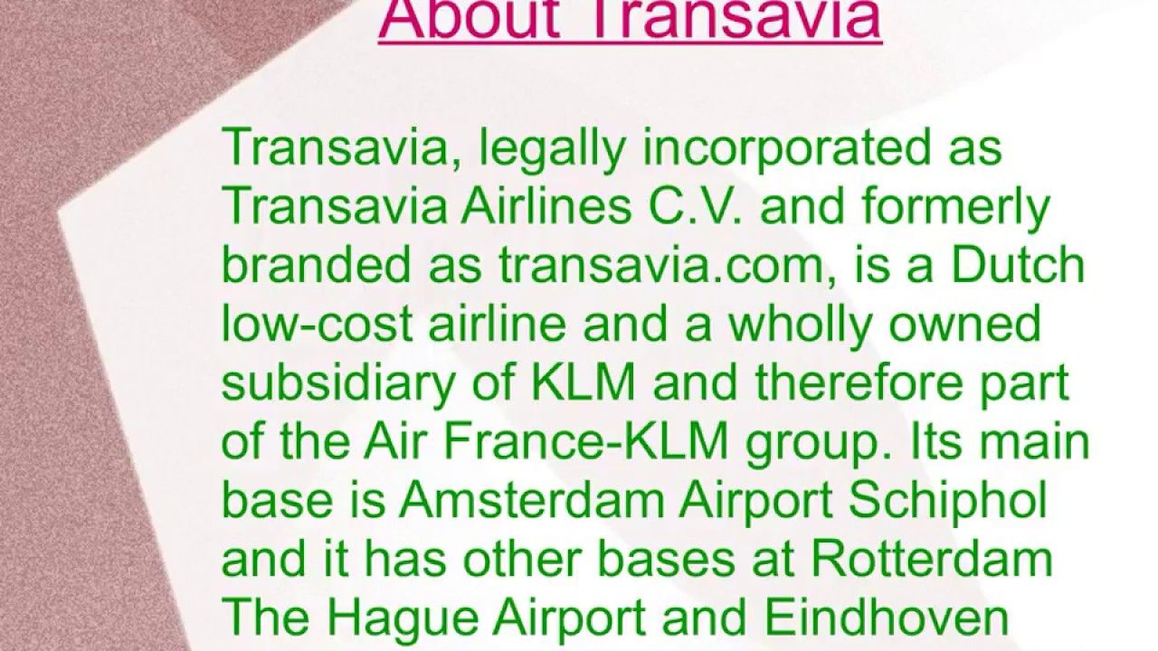Transavia Phone Number / +442036950656 Low cost
