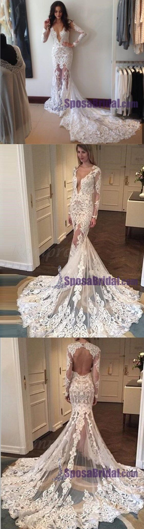 Full lace long sleeves most popular wedding dresses free custom