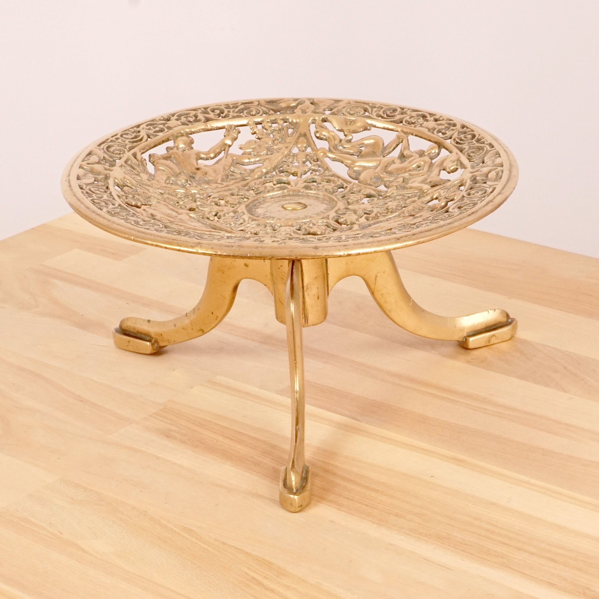 Bowl Tray Dish Vintage Solid Brass Elevated On A Round Stand Floral Spiritual Pattern 3 Legs Brass Tray Solid Brass Brass
