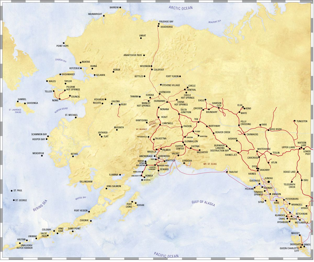 Map Of Alaska You Can See A Map Of Many Places On The List On - Map alaska superimposed us