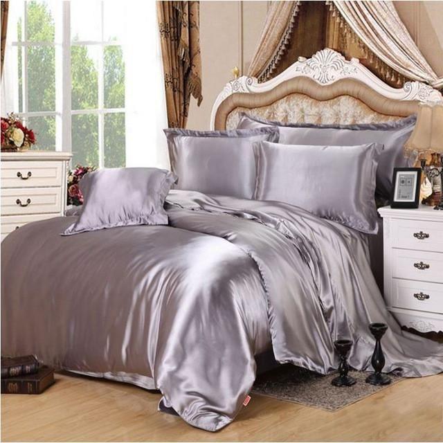 Silver Grey Satin Silk Bedding Set Home Textile 4 6pcs Solid Color Soft Silky Bed Linen Duvet Cover Pillowcase Queen King Size