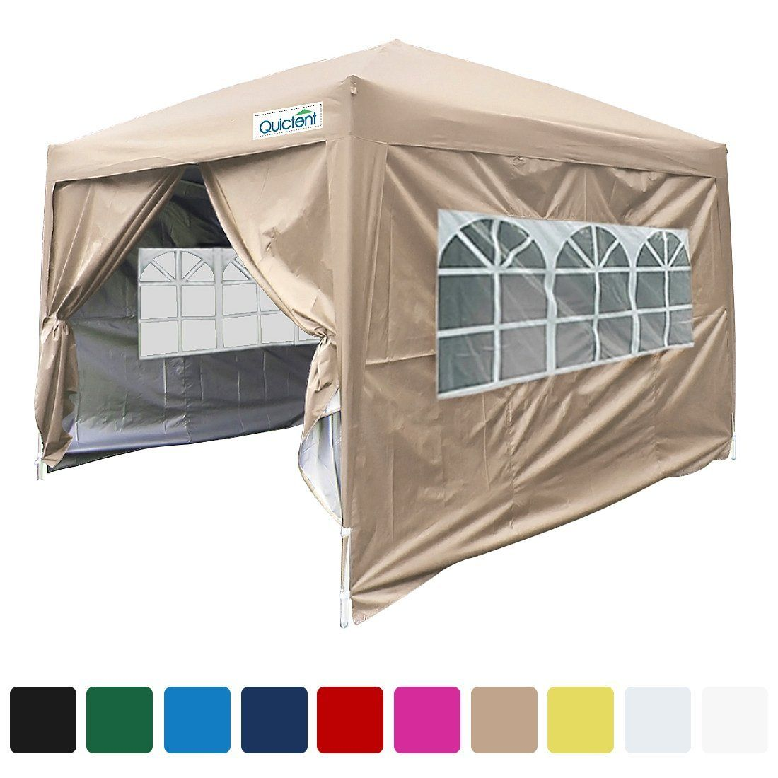 Amazon Com Quictent Silvox 8x8 Ez Pop Up Canopy Gazebo Party Tent With Carry Bag Waterproof 7 Colors Beige Patio Law Pop Up Canopy Tent Tent Party Tent