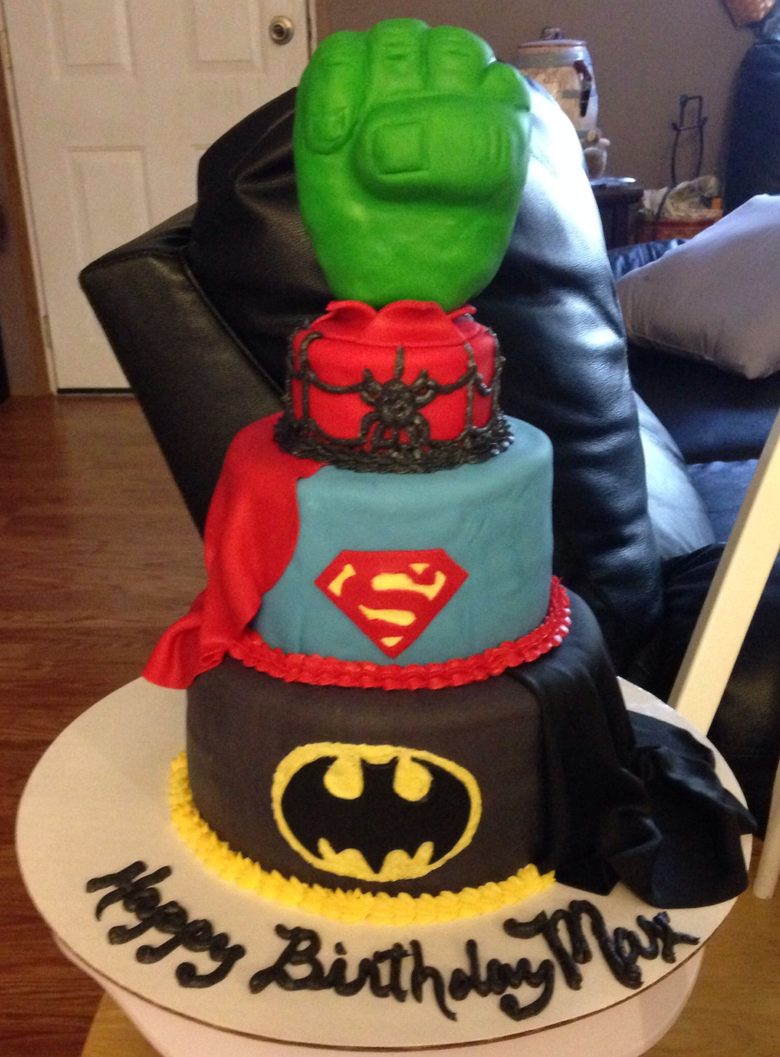 Superheroes birthday Cake Hulk Spiderman Superman Batman My