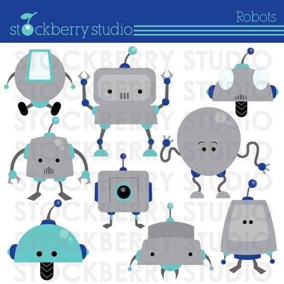 Robots Personal and Commerical Use Vector Clipart Set