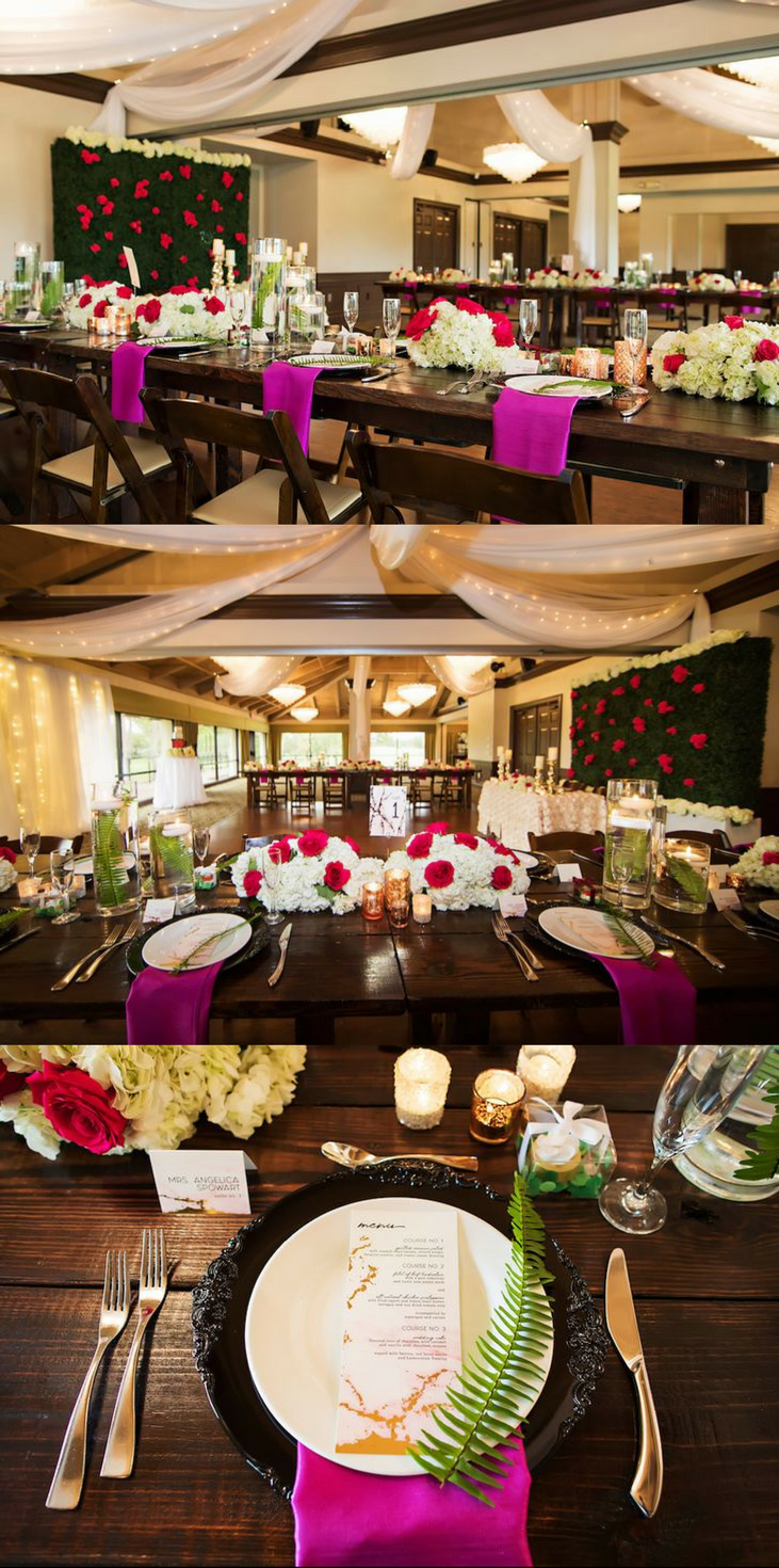 Ballroom Wedding Reception Table Decor With Long Wooden Feasting Tables Low White Hydrangea And Red Rose Centerpiece Gl Cylinder Vases Ferns