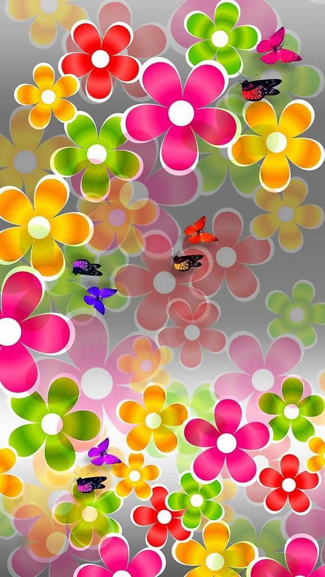 Colorful Spring Flowers Butterflies iPhone Wallpaper ...
