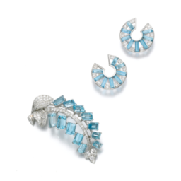 Cartier Aquamarine And Diamond Brooch 1950s And Pair Of Aquamarine And Diamond Ear Clips 1930s