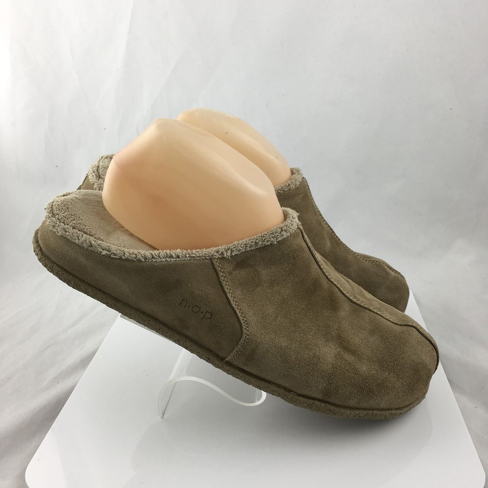 0c6882b81fc0 Brookstone nap Mens House Slippers Size XL (10 11) Brown Suede Leather   Brookstone  Scuffs