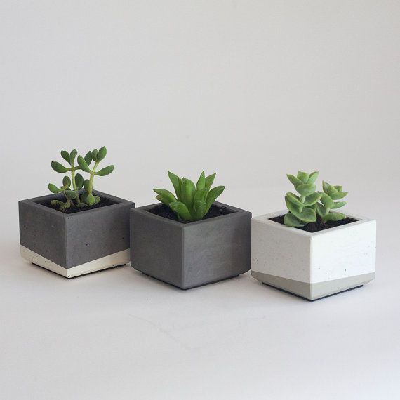 Photo of Set of Three Mini Concrete Succulent Planters by NystromGoods