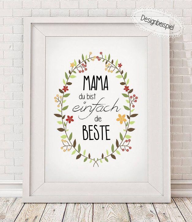 Mama Du Bist Die Beste Kunstdruck Muttertag Geschenk Diy Geschenke Muttertag Muttertag